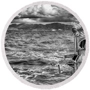 Round Beach Towel featuring the photograph Riding The Crest Of The Wave by Howard Salmon