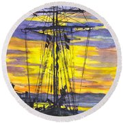 Rigging In The Sunset Round Beach Towel by Carol Wisniewski