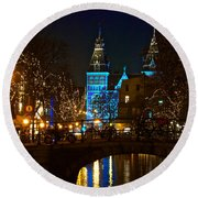 Rijksmuseum At Night Round Beach Towel