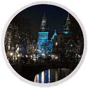 Rijksmuseum In Blue Round Beach Towel