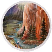 Rim Canyon Ride Round Beach Towel by Marilyn Smith