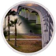 Ringling Causeway Bridge Overlook Round Beach Towel