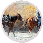 Round Beach Towel featuring the photograph Rio Grande Cowboy by Barbara Chichester