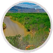 Rio Grande East Of Santa Elena Canyon In  Big Bend National Park-texas Round Beach Towel