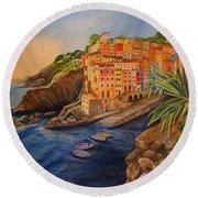 Riomaggiore Amore Round Beach Towel by Julie Brugh Riffey