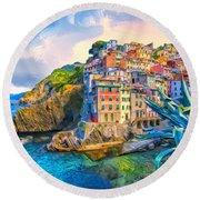 Riomaggiore Morning - Cinque Terre Round Beach Towel