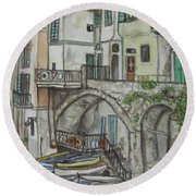 Round Beach Towel featuring the painting Riomaggoire Cinque Terre Italy by Malinda  Prudhomme