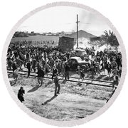 Riots At Cannery Strike Round Beach Towel by Underwood Archives