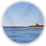 Ripple Catboat With Red Sail And Lighthouse Round Beach Towel