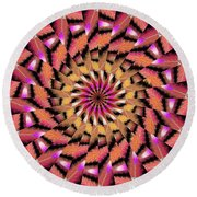 Rippled Source Kaleidoscope Round Beach Towel