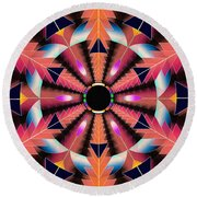 Round Beach Towel featuring the drawing Rippled Source Of Light by Derek Gedney