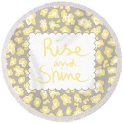 Rise And Shine- Yellow And Grey Round Beach Towel