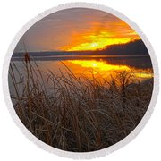 Round Beach Towel featuring the photograph Rising Sunlights Up Shore Line Of Cattails by Randall Branham