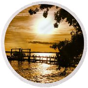 River Acres Jaynes Sunset Round Beach Towel