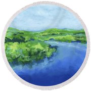 River Bend Round Beach Towel by Stephen Anderson