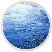 Round Beach Towel featuring the photograph River Blue by Robyn King