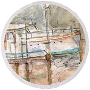 Round Beach Towel featuring the painting River Boat  by Teresa White