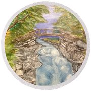 River Bridge Round Beach Towel