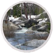 Round Beach Towel featuring the photograph River Cabin by Bobbee Rickard