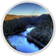 Round Beach Towel featuring the photograph River Cut Through The Valley by Jonny D