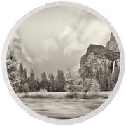 River Flowing Through A Forest, Merced Round Beach Towel by Panoramic Images
