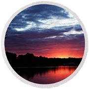 Round Beach Towel featuring the photograph River Glow by Dave Files