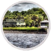 River House On Wimbee Creek Round Beach Towel