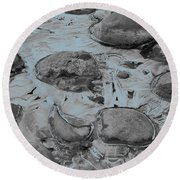 River Ice Blue Round Beach Towel