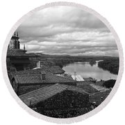 River Mino And Portugal From Tui Bw Round Beach Towel