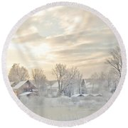 River Mist On A Very Cold New Hampshire Morning Round Beach Towel
