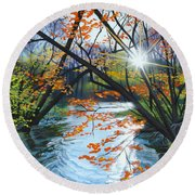 River Of Joy Round Beach Towel
