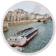 River Seine Excursion Boats Round Beach Towel