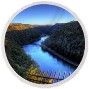 Round Beach Towel featuring the photograph River Through A Valley by Jonny D