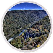 River Through The Hills Round Beach Towel