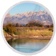River View Mesilla Panorama Round Beach Towel