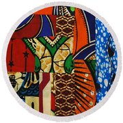 Round Beach Towel featuring the tapestry - textile Riverbank by Apanaki Temitayo M