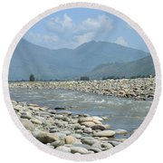 Riverbank Water Rocks Mountains And A Horseman Swat Valley Pakistan Round Beach Towel