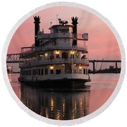Riverboat At Sunset Round Beach Towel by Cynthia Guinn