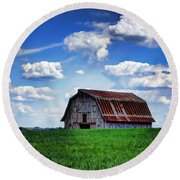 Riverbottom Barn Against The Sky Round Beach Towel by Cricket Hackmann
