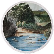 Riverscape Round Beach Towel