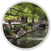 Round Beach Towel featuring the photograph Girl By The Water by Steven Sparks