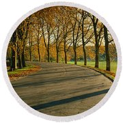 Road At Chateau Chambord France Round Beach Towel