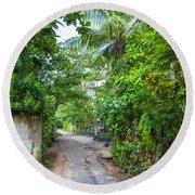 road in the Sri Lanka jungle Round Beach Towel