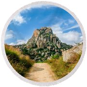 Road Into The Hills Round Beach Towel