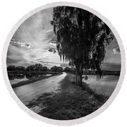 Road Into The Light-bw Round Beach Towel