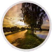 Road Into The Light Round Beach Towel