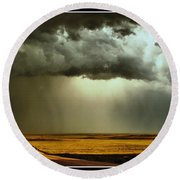 Road Into The Storm Round Beach Towel