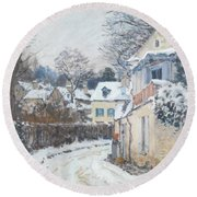 Round Beach Towel featuring the painting Road Louveciennes by Alfred Sisley