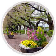 Round Beach Towel featuring the photograph Road Of Flowers by Andrea Anderegg