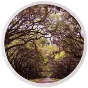 Road Of Trees Round Beach Towel